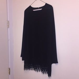 Tops - Black tunic with crochet lace at bottom hem